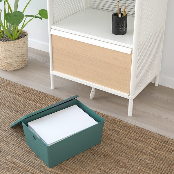 KUGGIS クッギス 収納ボックス ふた付き, ターコイズ, 26x35x15 cm