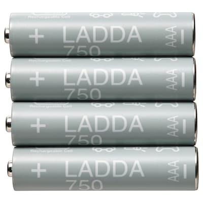 LADDA ラッダ 充電式電池, HR03 AAA (単4形) 1.2V, 750mAh