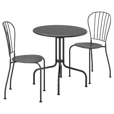 LÄCKÖ レッコ テーブル&チェア2脚 屋外用, グレー
