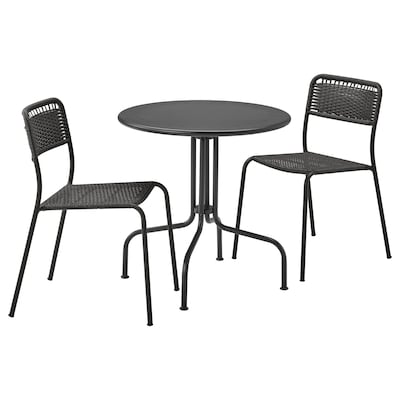 LÄCKÖ レッコ / VIHOLMEN ヴィーホルメン テーブル&チェア2脚 屋外用, グレー/ダークグレー