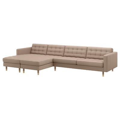 LANDSKRONA ランズクローナ 5人掛けソファ, 寝椅子付き/グラン/ボームスタード ダークベージュ/ウッド