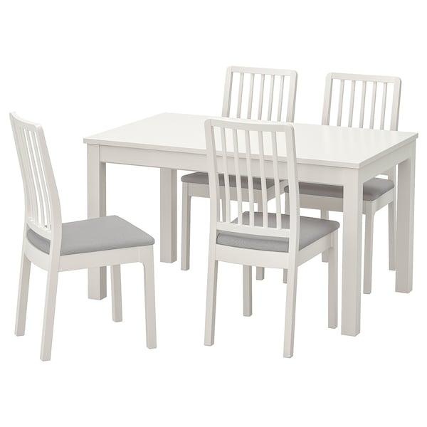 LANEBERG レインベリ / EKEDALEN エーケダーレン テーブル&チェア4脚, ホワイト/ホワイト ライトグレー, 130/190x80 cm
