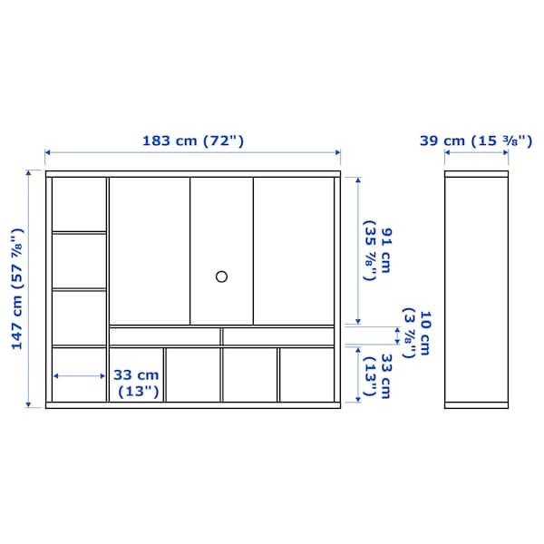 LAPPLAND ラップランド テレビ収納ユニット, ブラックブラウン, 183x39x147 cm