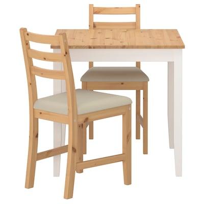 LERHAMN レールハムン テーブル&チェア2脚, ライトアンティークステイン ホワイトステイン/ヴィッタリード ベージュ, 74x74 cm