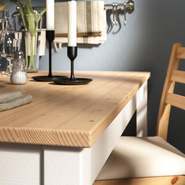 レールハムン テーブル&チェア4脚, ライトアンティークステイン ホワイトステイン/ヴィッタリード ベージュ, 118x74 cm