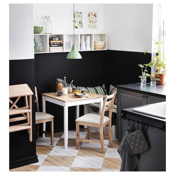 LERHAMN レールハムン テーブル, ライトアンティークステイン/ホワイトステイン, 74x74 cm