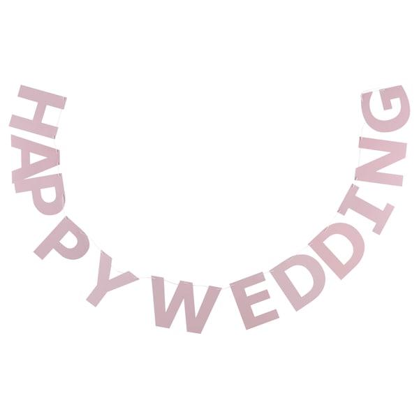 LEVNADSSÄTT レヴナードセット ガーランド, Happy Wedding ライトピンク, 2.5 m