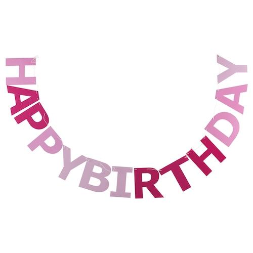 レヴナードセット ガーランド Happy Birthday ピンク 2.5 m