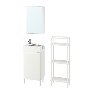 LILLÅNGEN リルオンゲン / LILLÅNGEN リルオンゲン バスルーム家具6点セット, ホワイト/Ensen/エンセン 水栓, 41 cm