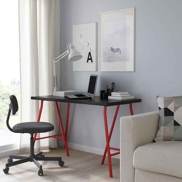 LINNMON リンモン / LERBERG レールベリ テーブル, ブラックブラウン/レッド, 120x60 cm