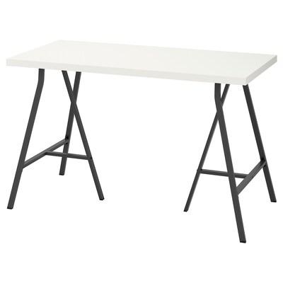 LINNMON リンモン / LERBERG レールベリ テーブル, ホワイト/グレー, 120x60 cm