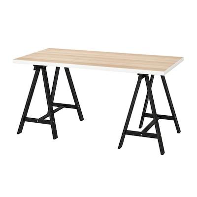 リンモン / オッドヴァルド テーブル, ホワイト ホワイトステインオーク調/ブラック, 150x75 cm