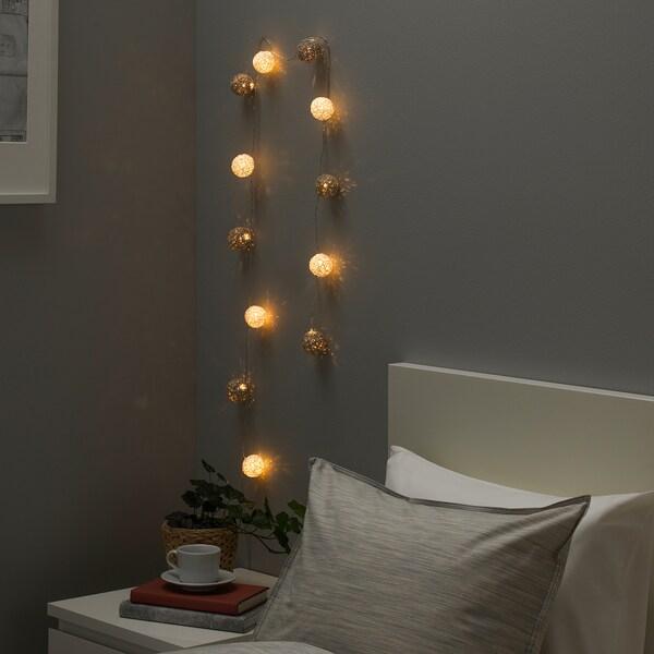 LIVSÅR リーヴソール LEDライトチェーン 全12球, 室内用/電池式 グレー/ホワイト