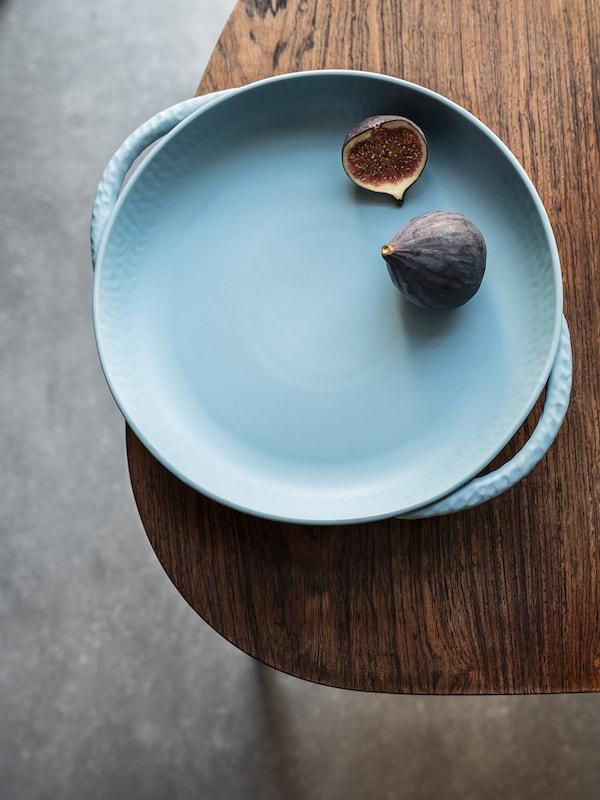 LOKALT ロカルト サービングプレート, ブルー/ハンドメイド, 25 cm