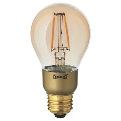 LUNNOM ルッノム LED電球 E26 400ルーメン, 調光可能/球形 ブラウンクリアガラス, 60 mm