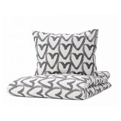 LYKTFIBBLA リクトフィッブラ 掛け布団カバー&枕カバー, ホワイト/グレー, 150x200/50x60 cm