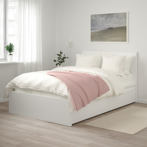 MALM マルム ベッドフレーム 収納ボックス2個付き, ホワイト/ルーローイ, 120x200 cm
