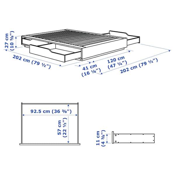MANDAL マンダール ベッドフレーム 収納付き, バーチ/ホワイト, 120x200 cm