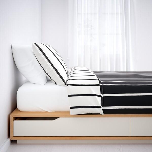 MANDAL マンダール ベッドフレーム 収納付き, バーチ/ホワイト, 140x202 cm