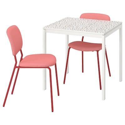 MELLTORP メルトルプ / KARLJAN カールリアン テーブル&チェア2脚, モザイク模様 ホワイト/カブーサ レッド, 75x75 cm