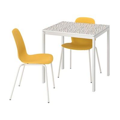 MELLTORP メルトルプ / LEIFARNE レイフアルネ テーブル&チェア2脚, モザイク模様 ホワイト/ブロリンゲ ホワイト, 75x75 cm