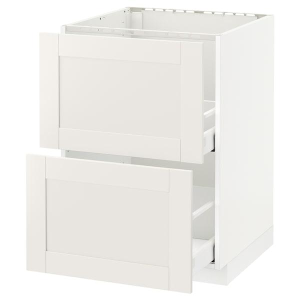 METOD メトード ベースキャビネット シンク用+引き出し前部2/引き出し2, ホワイト マキシメーラ/セーヴェダール ホワイト, 60x60x80 cm