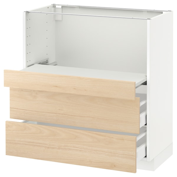 METOD メトード ベースキャビネット 引き出し式シェルフ/引き出し2付き, ホワイト マキシメーラ/アスケルスンド ライトアッシュ調, 80x41x80 cm