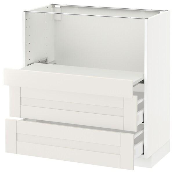 METOD メトード ベースキャビネット 引き出し式シェルフ/引き出し2付き, ホワイト マキシメーラ/セーヴェダール ホワイト, 80x41x80 cm