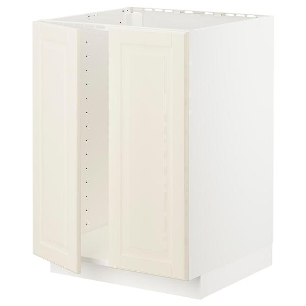 METOD メトード ベースキャビネット シンク用+扉2枚, ホワイト/ボードビーン オフホワイト, 60x60x80 cm