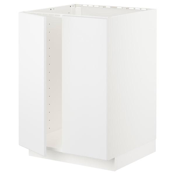 METOD メトード ベースキャビネット シンク用+扉2枚, ホワイト/クングスバッカ マットホワイト, 60x60x80 cm