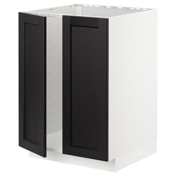 METOD メトード ベースキャビネット シンク用+扉2枚, ホワイト/レルヒッタン ブラックステイン, 60x60x80 cm