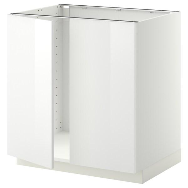 METOD メトード ベースキャビネット シンク用+扉2枚, ホワイト/リンガフルト ホワイト, 80x60x80 cm