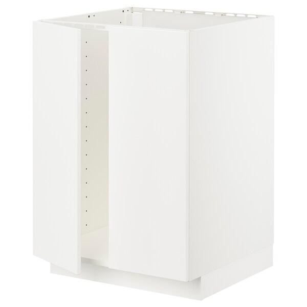 METOD メトード ベースキャビネット シンク用+扉2枚, ホワイト/ヴェッディンゲ ホワイト, 60x60x80 cm