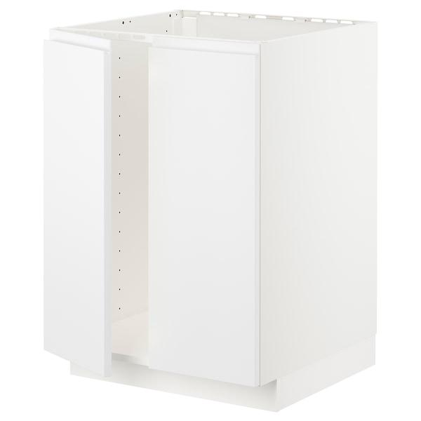 METOD メトード ベースキャビネット シンク用+扉2枚, ホワイト/ヴォックストルプ マットホワイト, 60x60x80 cm