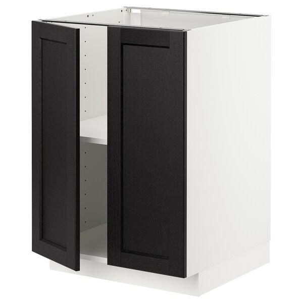 METOD メトード ベースキャビネット 棚板/扉2枚付き, ホワイト/レルヒッタン ブラックステイン, 60x60x80 cm