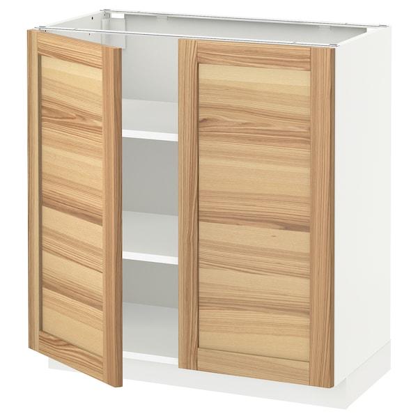 METOD メトード ベースキャビネット 棚板/扉2枚付き, ホワイト/トルハムン アッシュ, 80x41x80 cm