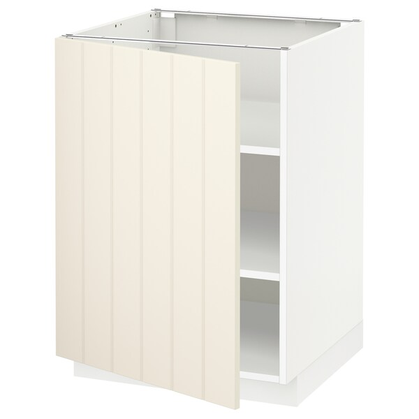 METOD メトード ベースキャビネット 棚板付き, ホワイト/ヒッタルプ オフホワイト, 60x60x80 cm