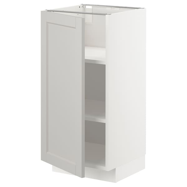 METOD メトード ベースキャビネット 棚板付, ホワイト/レルヒッタン ライトグレー, 40x41x80 cm