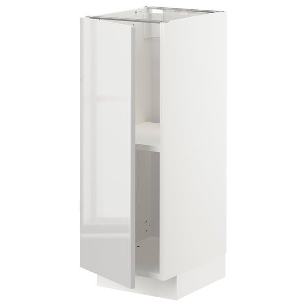 METOD メトード ベースキャビネット 棚板付き, ホワイト/リンガフルト ライトグレー, 30x41x80 cm