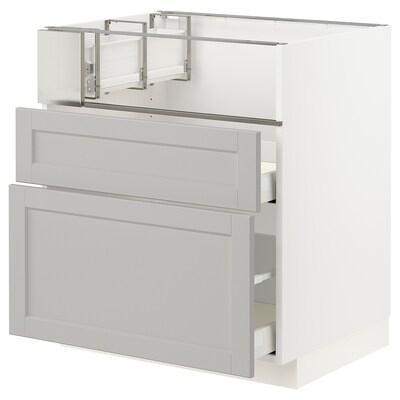 METOD メトード ベースキャビネット コンロ/フィッシュグリル/引き出し2用, ホワイト/レルヒッタン ライトグレー, 75x60x80 cm