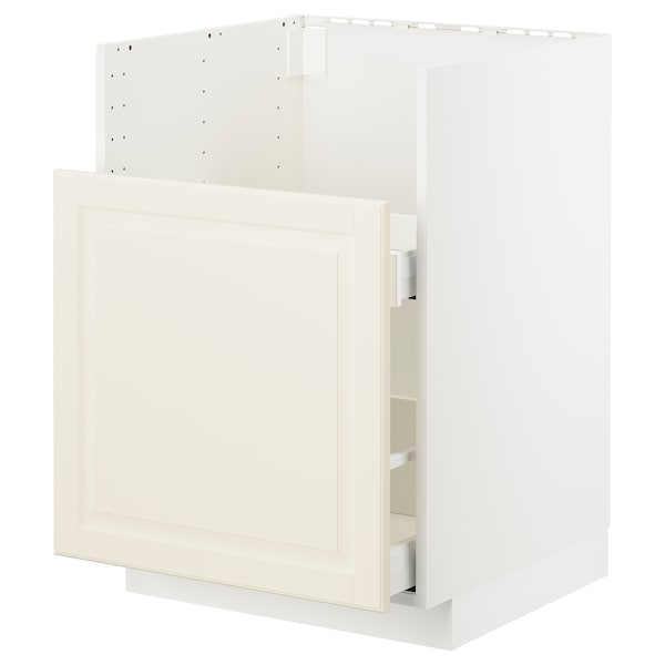 METOD メトード Bキャビ ブレードショーン シンク用/引出前部1/引出2, ホワイト/ボードビーン オフホワイト, 60x60 cm