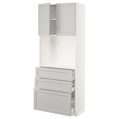 METOD メトード ハイキャビネット 棚板/引き出し3段付, ホワイト マキシメーラ/レルヒッタン ライトグレー, 80x41x200 cm