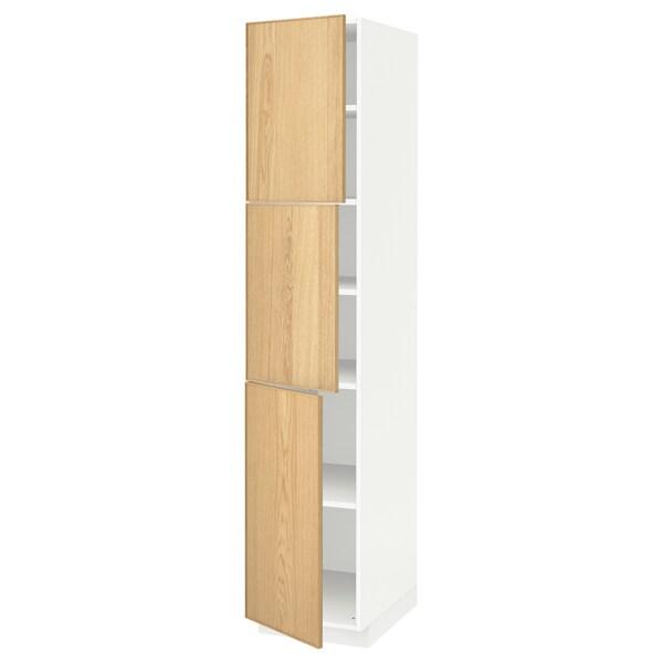 METOD メトード ハイキャビネット 棚板/扉3枚付き, ホワイト/エーケスタード オーク, 40x60x200 cm