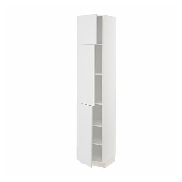 METOD メトード ハイキャビネット 棚板/扉3枚付き, ホワイト/ステーンスンド ホワイト, 40x41x200 cm