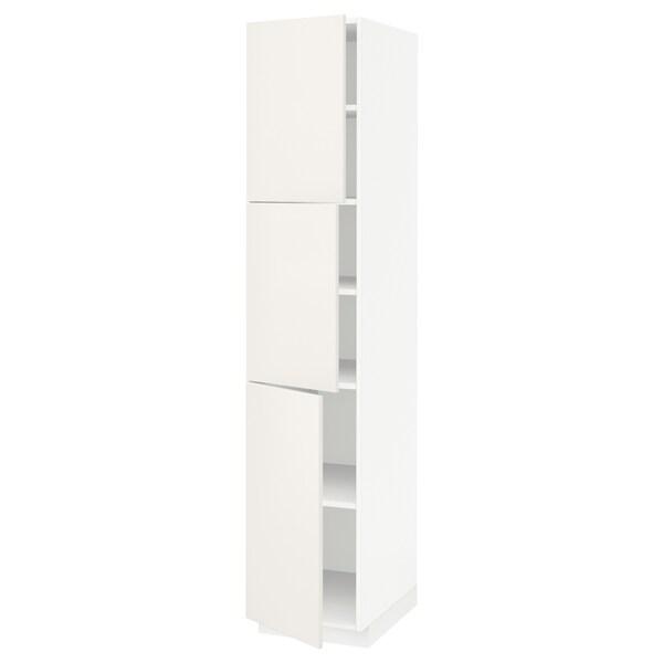 METOD メトード ハイキャビネット 棚板/扉3枚付き, ホワイト/ヴェッディンゲ ホワイト, 40x60x200 cm