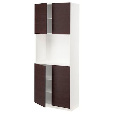 METOD メトード ハイキャビネット 棚板/扉4枚付, ホワイト アスケルスンド/ダークブラウン アッシュ調, 80x41x200 cm