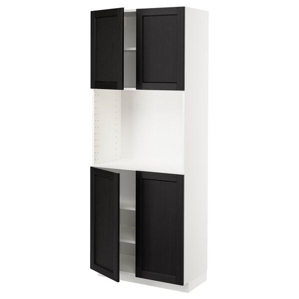 METOD メトード ハイキャビネット 棚板/扉4枚付き, ホワイト/レルヒッタン ブラックステイン, 80x41x200 cm