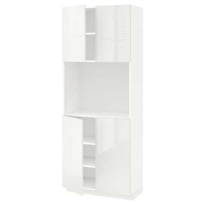 METOD メトード ハイキャビネット 棚板/扉4枚付き, ホワイト/リンガフルト ホワイト, 80x41x200 cm
