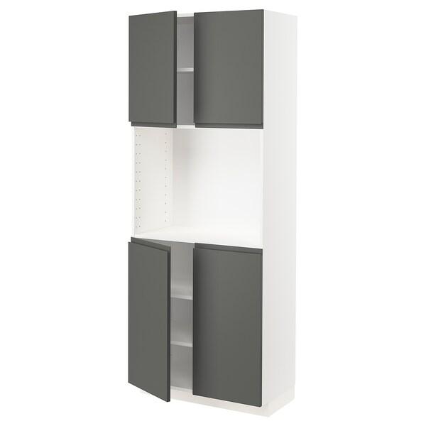 METOD メトード ハイキャビネット 棚板/扉4枚付き, ホワイト/ヴォックストルプ ダークグレー, 80x41x200 cm