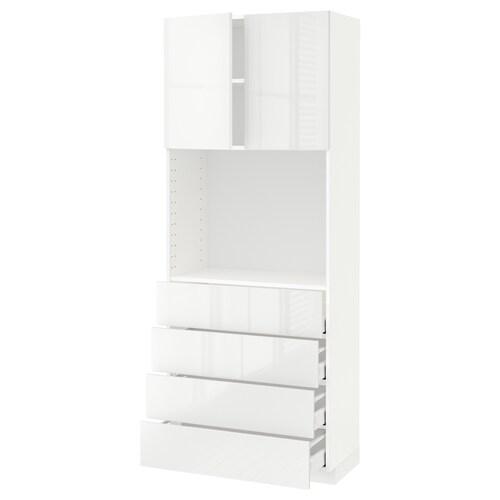 メトード / マキシメーラ ハイキャビネット 棚板/引き出し4個付き ホワイト/リンガフルト ホワイト 80.0 cm 41 cm 42.8 cm 200.0 cm